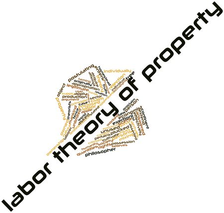 quantities: Abstract word cloud for Labor theory of property with related tags and terms Stock Photo