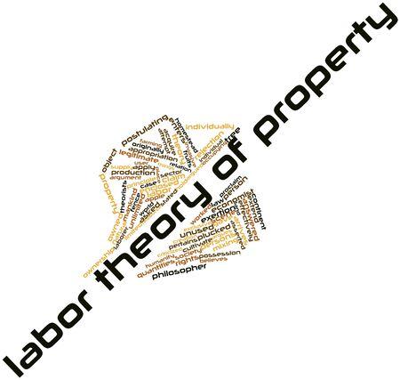 relaciones laborales: Nube de la palabra abstracta de la teoría de Trabajo de la propiedad con las etiquetas y términos relacionados