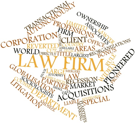 firm: Abstract word cloud for Law firm with related tags and terms