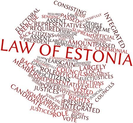 councils: Word cloud astratto per legge di Estonia con tag correlati e termini Archivio Fotografico
