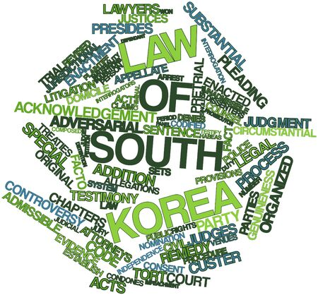 plaintiff: Abstract word cloud for Law of South Korea with related tags and terms Stock Photo