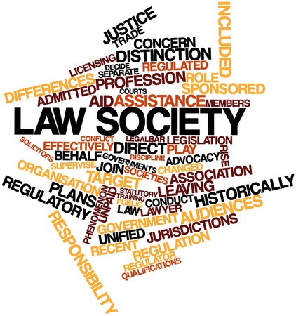 regulated: Abstract word cloud for Law society with related tags and terms Stock Photo
