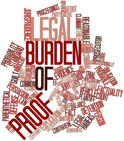plaintiff: Abstract word cloud for Legal burden of proof with related tags and terms
