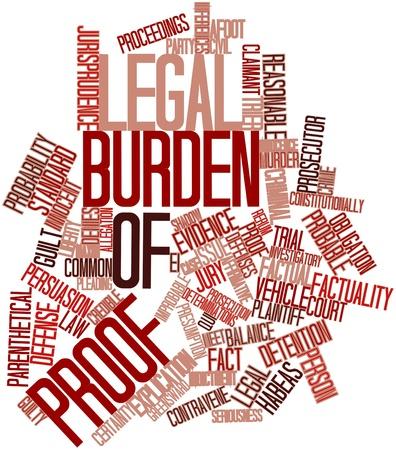 jurado: Nube palabra abstracta para carga legal de la prueba con las etiquetas y términos relacionados