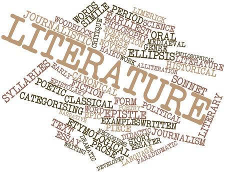 prosa: Word cloud astratto per la letteratura con tag correlati e termini