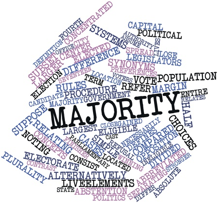 voters: Abstract word cloud for Majority with related tags and terms Stock Photo