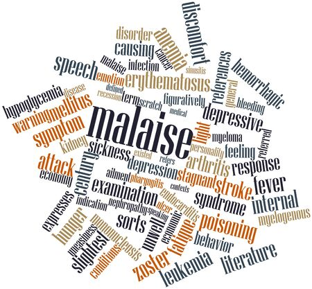 general warning: Abstract word cloud for Malaise with related tags and terms Stock Photo