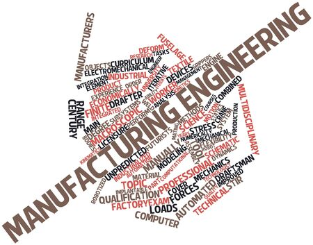 draftsman: Abstract word cloud for Manufacturing engineering with related tags and terms