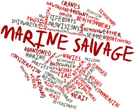 deteriorate: Abstract word cloud for Marine salvage with related tags and terms
