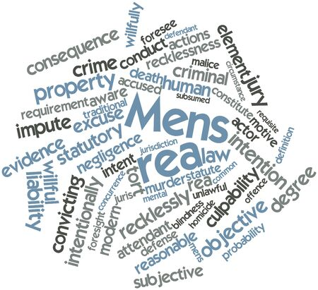 Abstract word cloud for Mens rea with related tags and terms Stock Photo - 16739011