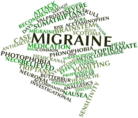 common vision: Abstract word cloud for Migraine with related tags and terms