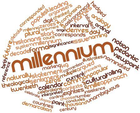 historians: Word cloud astratto per Millennium con tag correlati e termini