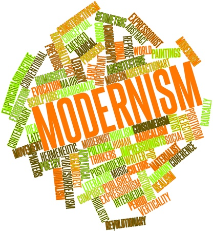 positivism: Abstract word cloud for Modernism with related tags and terms Stock Photo
