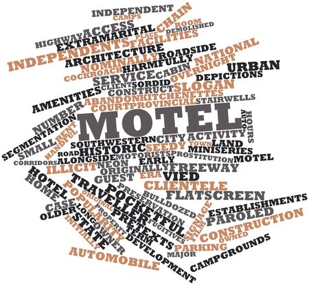 nominally: Abstract word cloud for Motel with related tags and terms Stock Photo