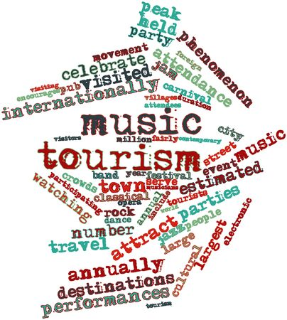 Abstract word cloud for Music tourism with related tags and terms Stock Photo - 16739428