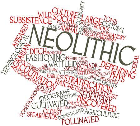 neolithic: Nube palabra abstracta para neol�tico con las etiquetas y t�rminos relacionados Foto de archivo