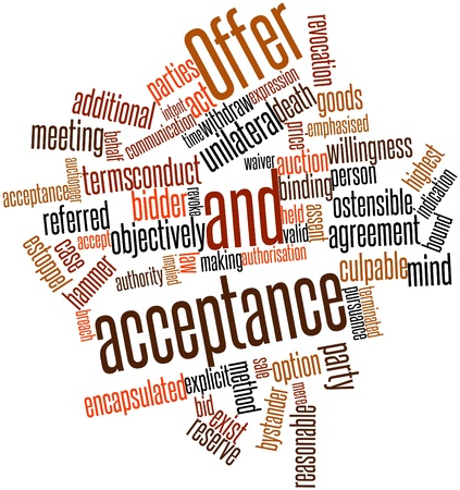 plaintiff: Abstract word cloud for Offer and acceptance with related tags and terms