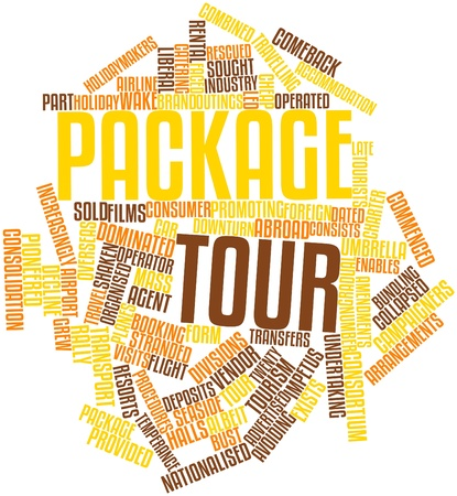 shaken: Abstract word cloud for Package tour with related tags and terms Stock Photo