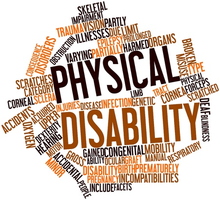Abstract word cloud for Physical disability with related tags and terms Stock Photo - 16739440
