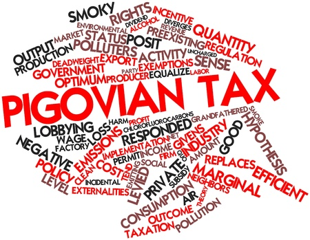 Abstract word cloud for Pigovian tax with related tags and terms photo