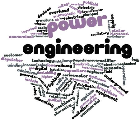 excitation: Abstract word cloud for Power engineering with related tags and terms Stock Photo