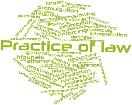 differed: Abstract word cloud for Practice of law with related tags and terms