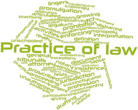 interdiction: Nuage de mots abstraits pour la pratique du droit avec des étiquettes et des termes connexes Banque d'images