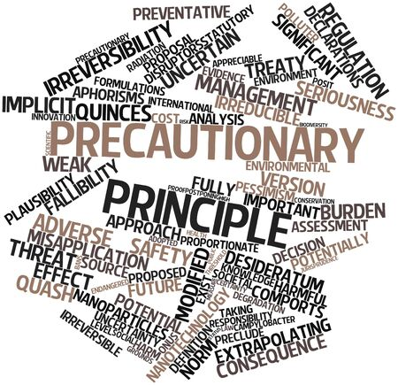 principle: Abstract word cloud for Precautionary principle with related tags and terms Stock Photo