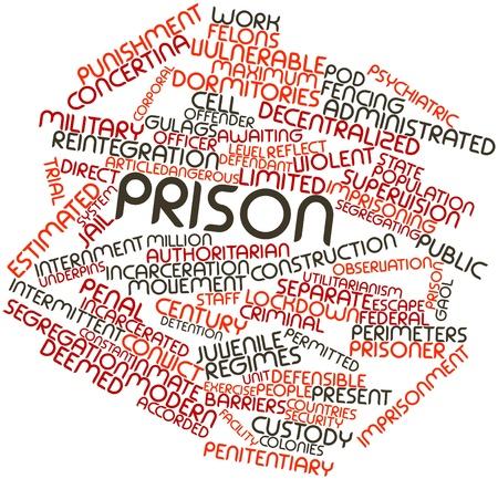 関連するタグと用語と刑務所の抽象的な単語雲 写真素材