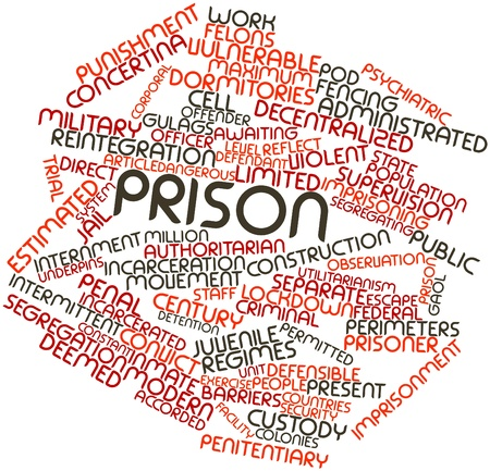 incarcerated: Abstract word cloud for Prison with related tags and terms Stock Photo