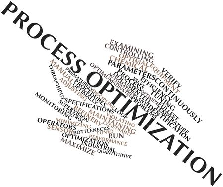 optimal: Abstract word cloud for Process optimization with related tags and terms Stock Photo