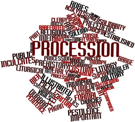 Abstract word cloud for Procession with related tags and terms