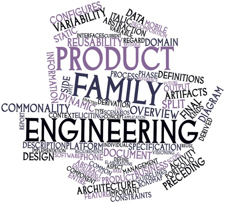 product design specification: Abstract word cloud for Product family engineering with related tags and terms Stock Photo