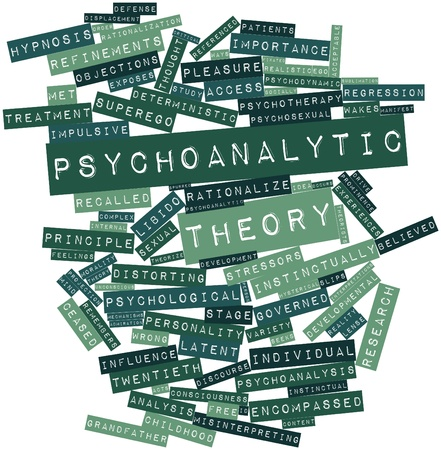 latent: Abstract word cloud for Psychoanalytic theory with related tags and terms Stock Photo