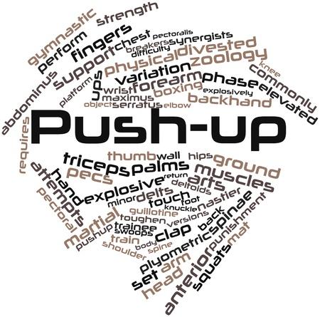stabilizers: Nube palabra abstracta para push-up con las etiquetas y t�rminos relacionados Foto de archivo