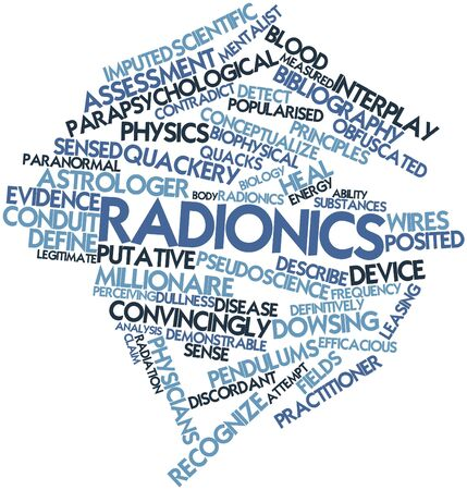 dismiss: Abstract word cloud for Radionics with related tags and terms