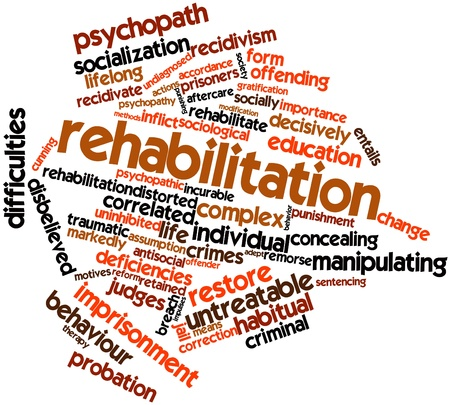 socially: Abstract word cloud for Rehabilitation with related tags and terms Stock Photo