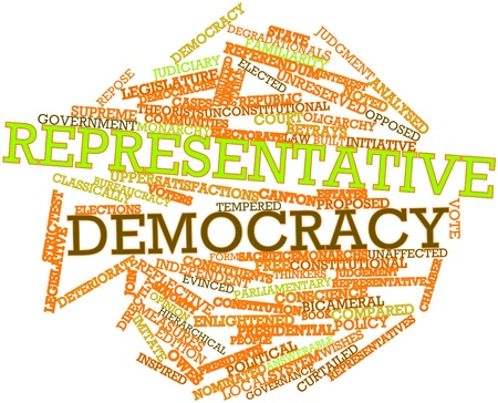 representative: Abstract word cloud for Representative democracy with related tags and terms