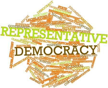 democracia: Nube palabra abstracta para la democracia representativa con etiquetas y términos relacionados