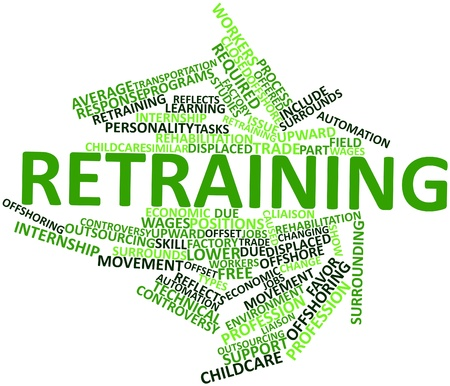 Abstract word cloud for Retraining with related tags and terms Stock Photo - 16739047