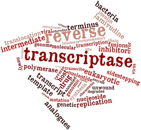 reverse: Abstract word cloud for Reverse transcriptase with related tags and terms Stock Photo