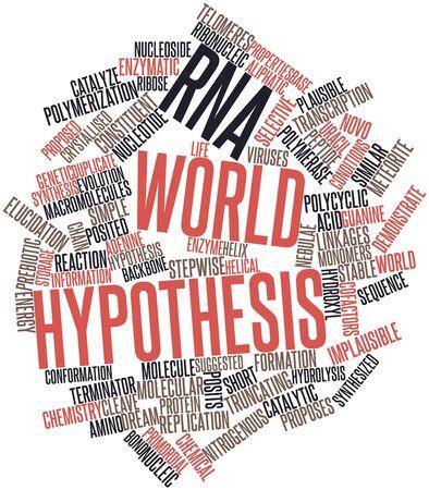 hipótesis: Nube palabra abstracta para hipótesis del mundo de ARN con etiquetas y términos relacionados Foto de archivo