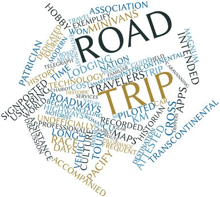 Abstract word cloud for Road trip with related tags and terms