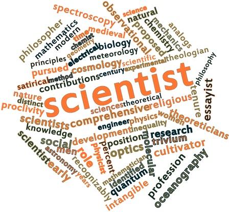 observational: Nube palabra abstracta para el cient�fico con las etiquetas y t�rminos relacionados