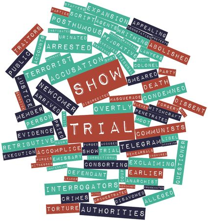 pejorative: Abstract word cloud for Show trial with related tags and terms