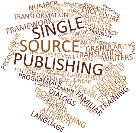 deliverables: Abstract word cloud for Single source publishing with related tags and terms