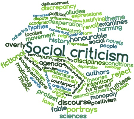 flawed: Abstract word cloud for Social criticism with related tags and terms Stock Photo