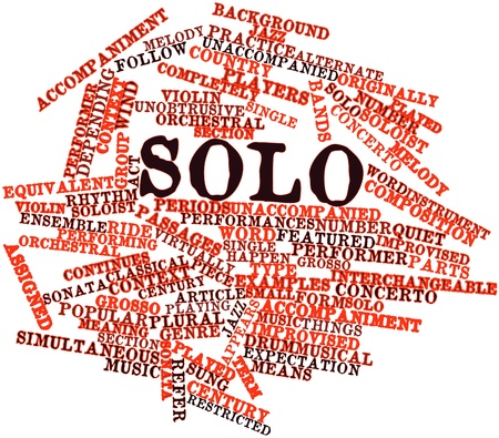 featured: Abstract word cloud for Solo with related tags and terms Stock Photo