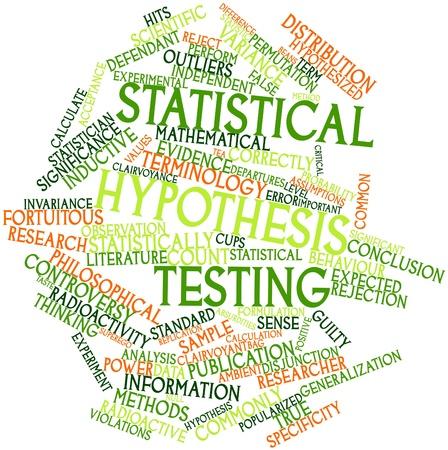 hypothesis: Nube palabra abstracta para la prueba de hip�tesis estad�stica con las etiquetas y t�rminos relacionados Foto de archivo