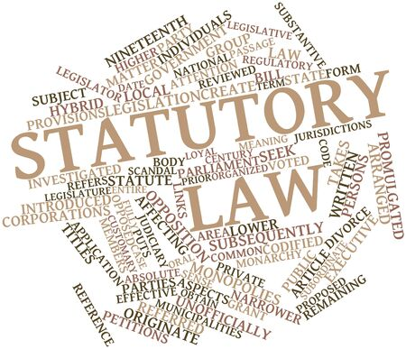 promulgated: Abstract word cloud for Statutory law with related tags and terms